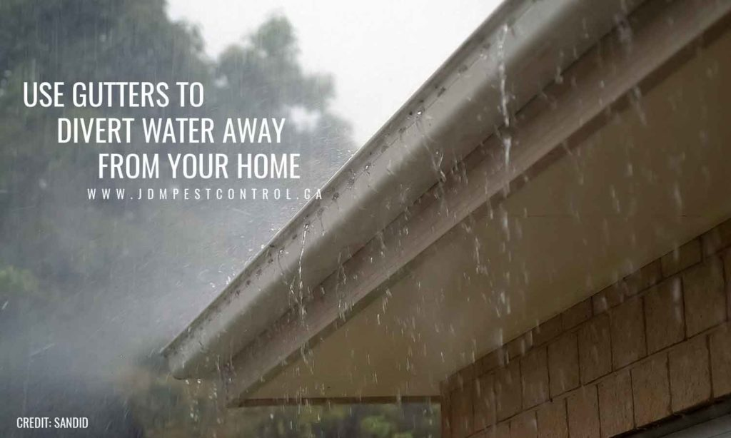 Use gutters to divert water away from your home